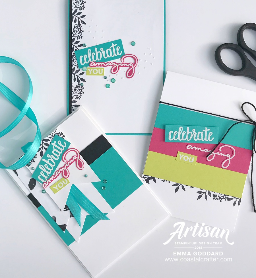 Bright and Bold cards set using Amazing You, perfect for sending or bundling together as a gift.