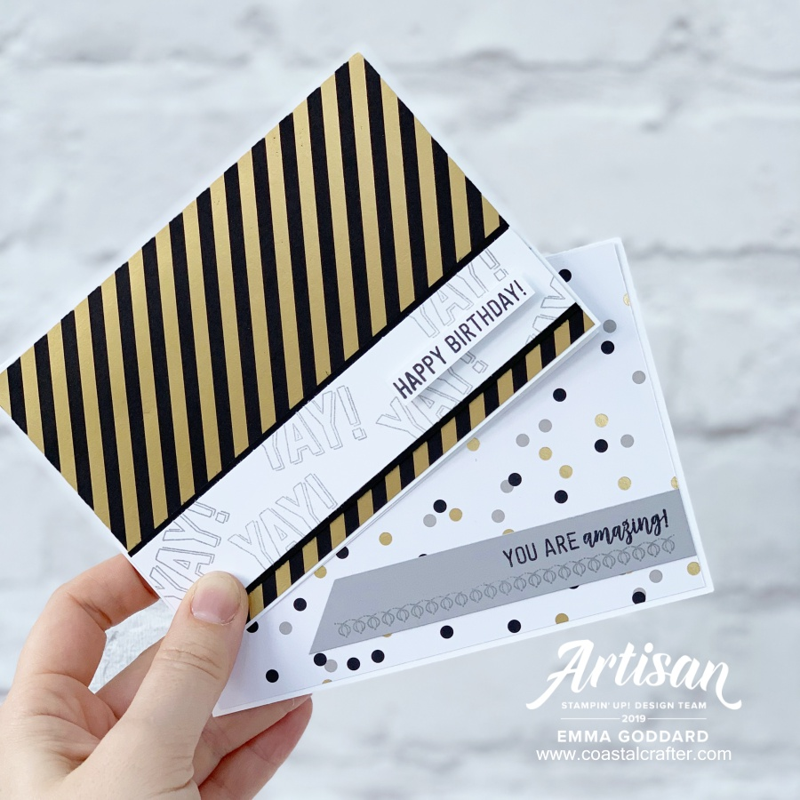 Quick and easy cards made by Emma Goddard (Stampin' Up! Artisan Design Team Member UK 2019) These are featuring the Broadway Bound Designer Series Paper and the Amazing Life Stamp Set #simplestamping #amazinglife #artisan #adt #quickandsimplecards #papercraft #birthdaycards