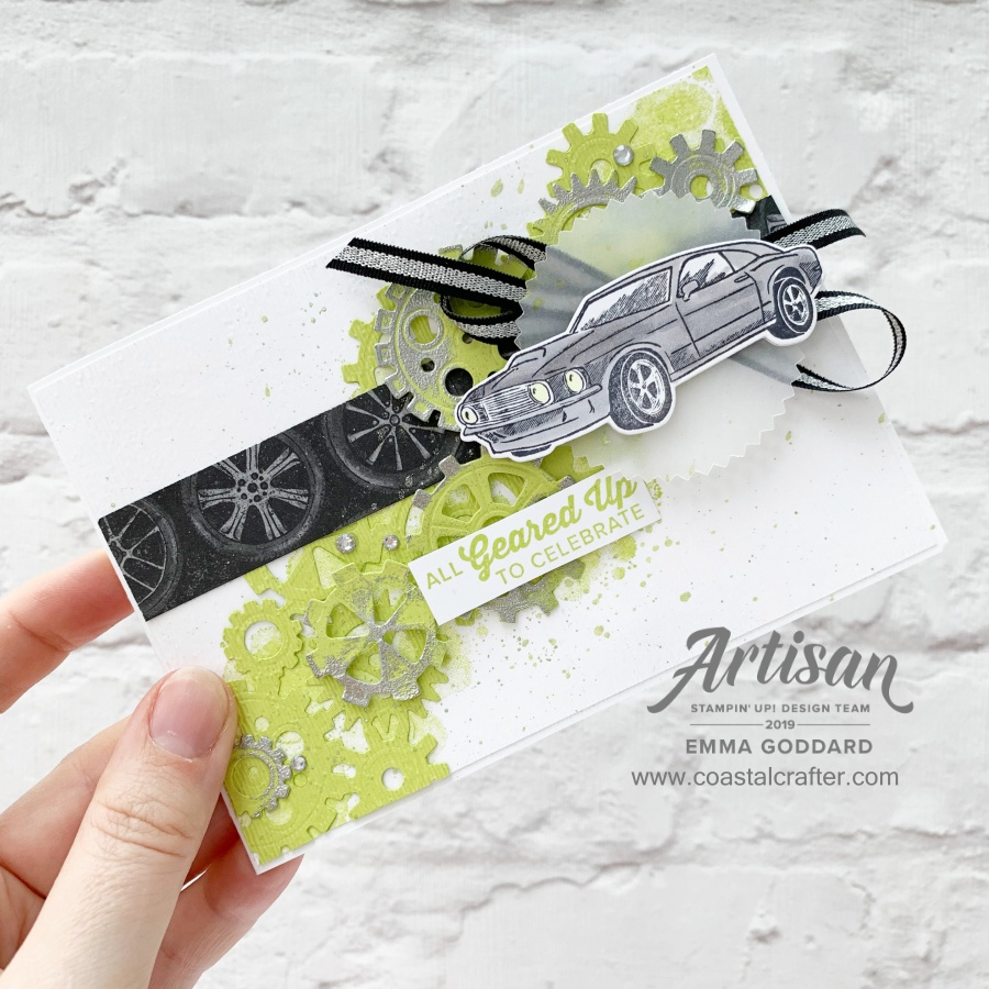 Geared up Garage cards made by Stampin' Up! Artisan Design Team Member Emma Goddard - UK - www.coastalcrafter.com. This suite is just perfect men and teenager cards. #coastalcrafter #stampinup #adt #artisandesignteam2019 #gearedupgarage #grunge