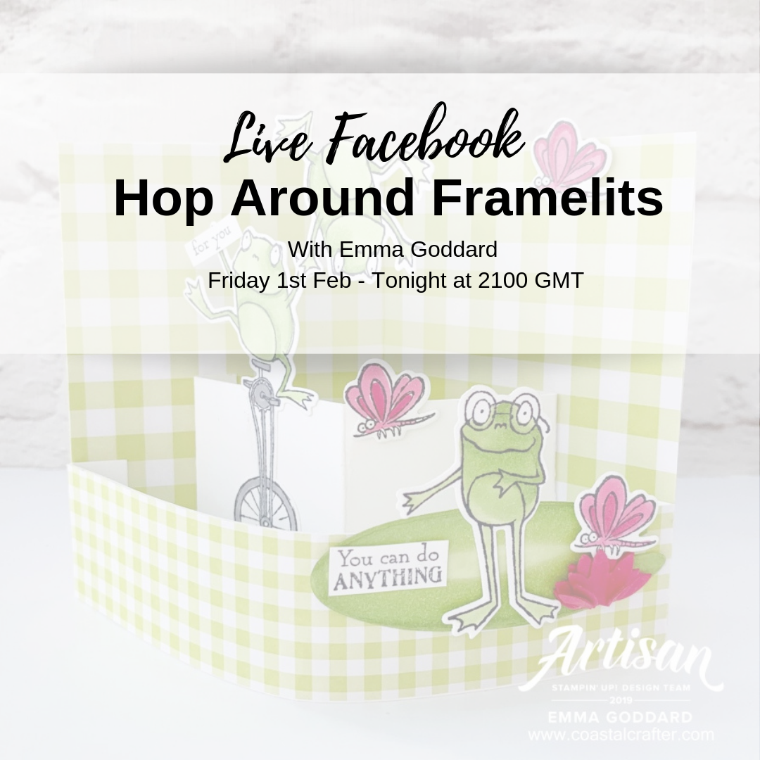 Join Emma Goddard (Stampin' Up! Artisan Design Team 2019) live on Facebook or catch the replay to see this card being made using the NEW Hop Around Framelits. #hoparound #stampinup #saleabrationcoordination #sohoppytogether #funfoldcard #joinmyteam