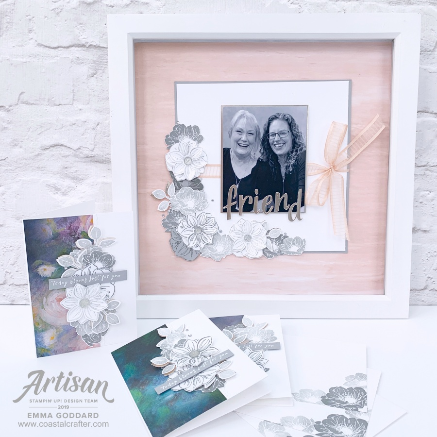 Perennial Essence Bundle used to create a photo frame and coordinating cards by Emma Goddard, Independent Stampin' Up! Demonstrator UK & Stampin' Up! Artisan Design Team Member 2019. #perennialessence #floralessence #friends #stampinup #artisanbloghop
