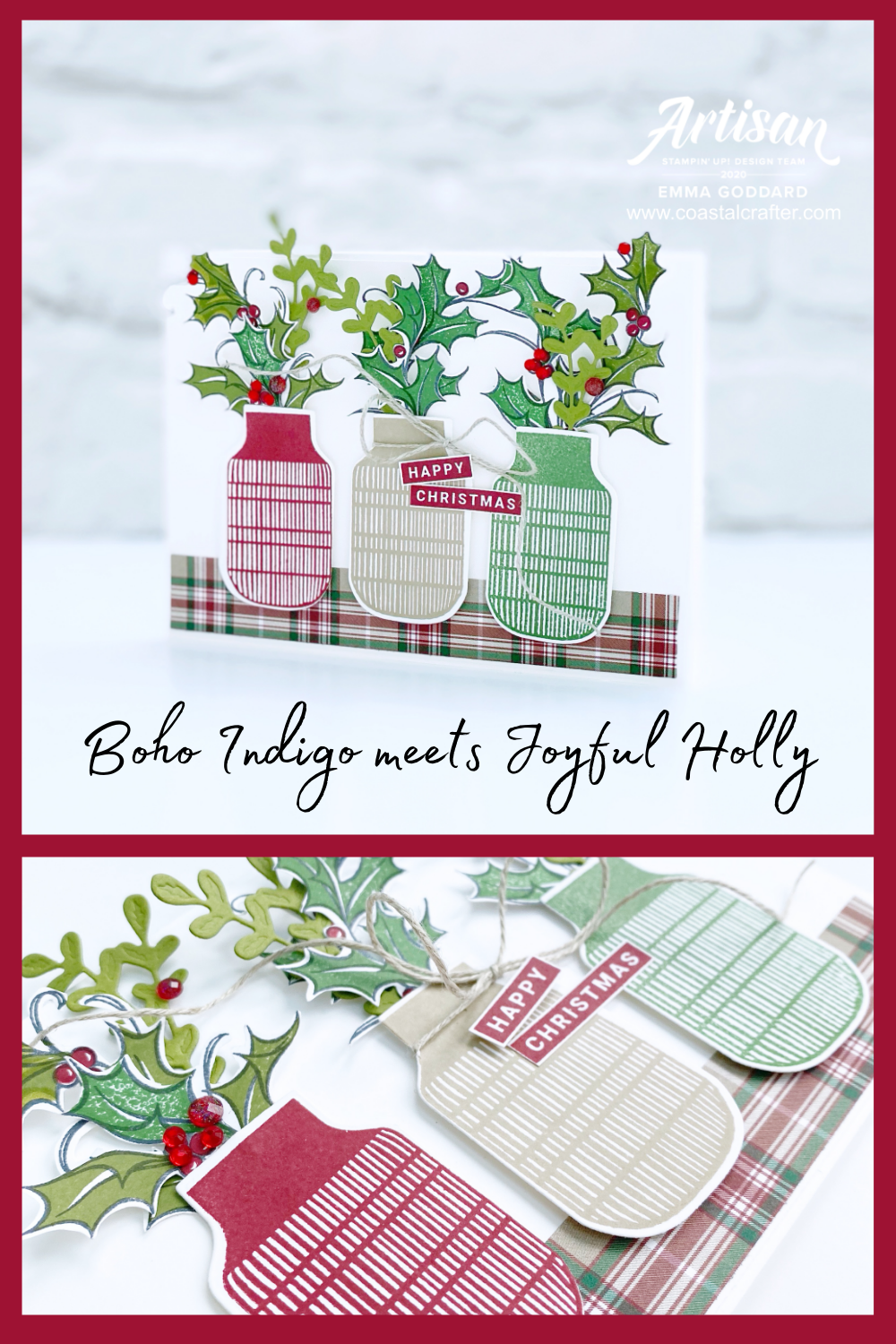 Mixed and match stamp sets for a fun Christmas Vase Card