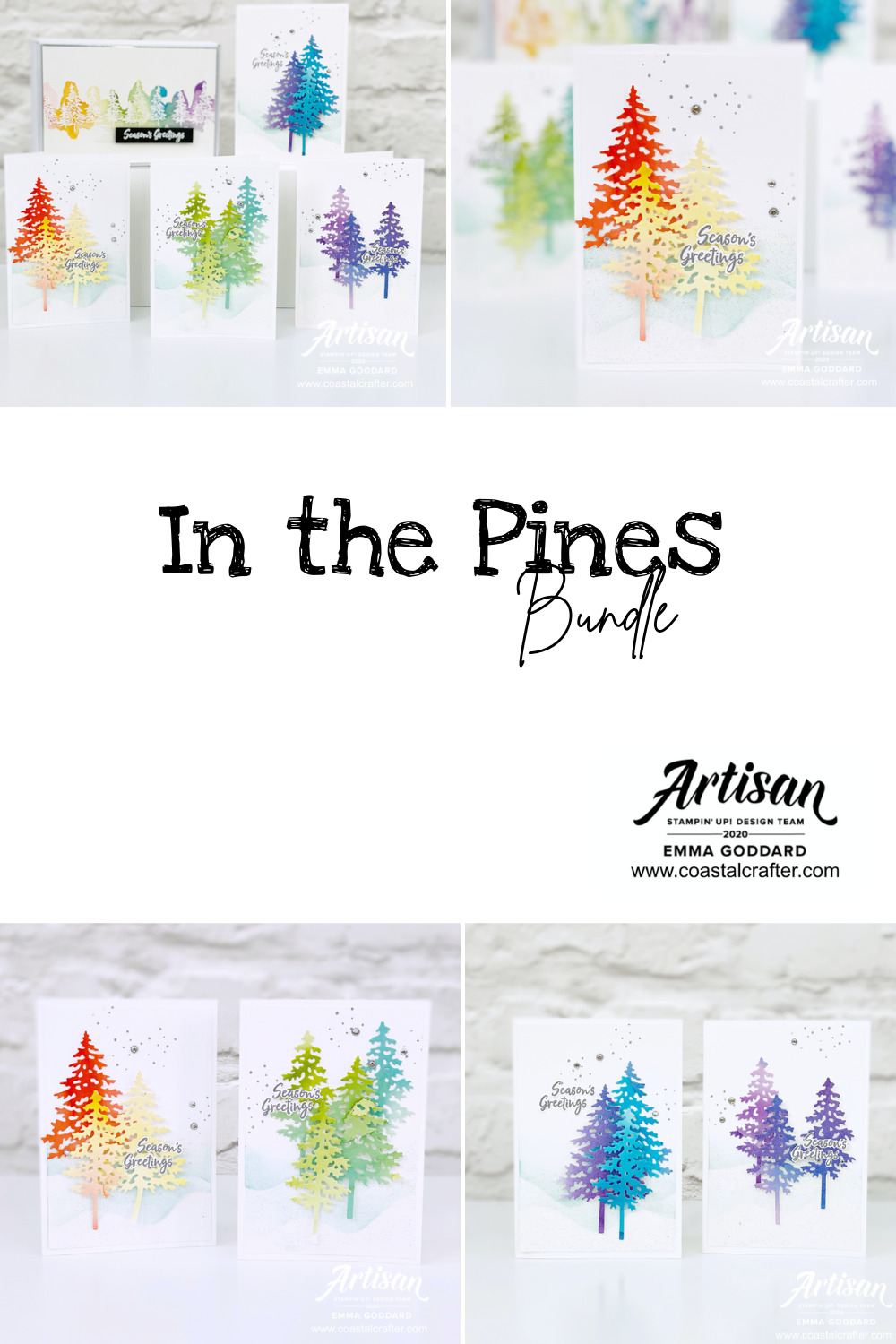 In the Pines Bundle from Stampin' Up! cuts out the most adorable Christmas Trees. This set is a rainbow of watercolour cards using non-traditional colours. Made by Emma Goddard Independent Stampin' Up! Demonstrator UK, Artisan Design Team Member 2020