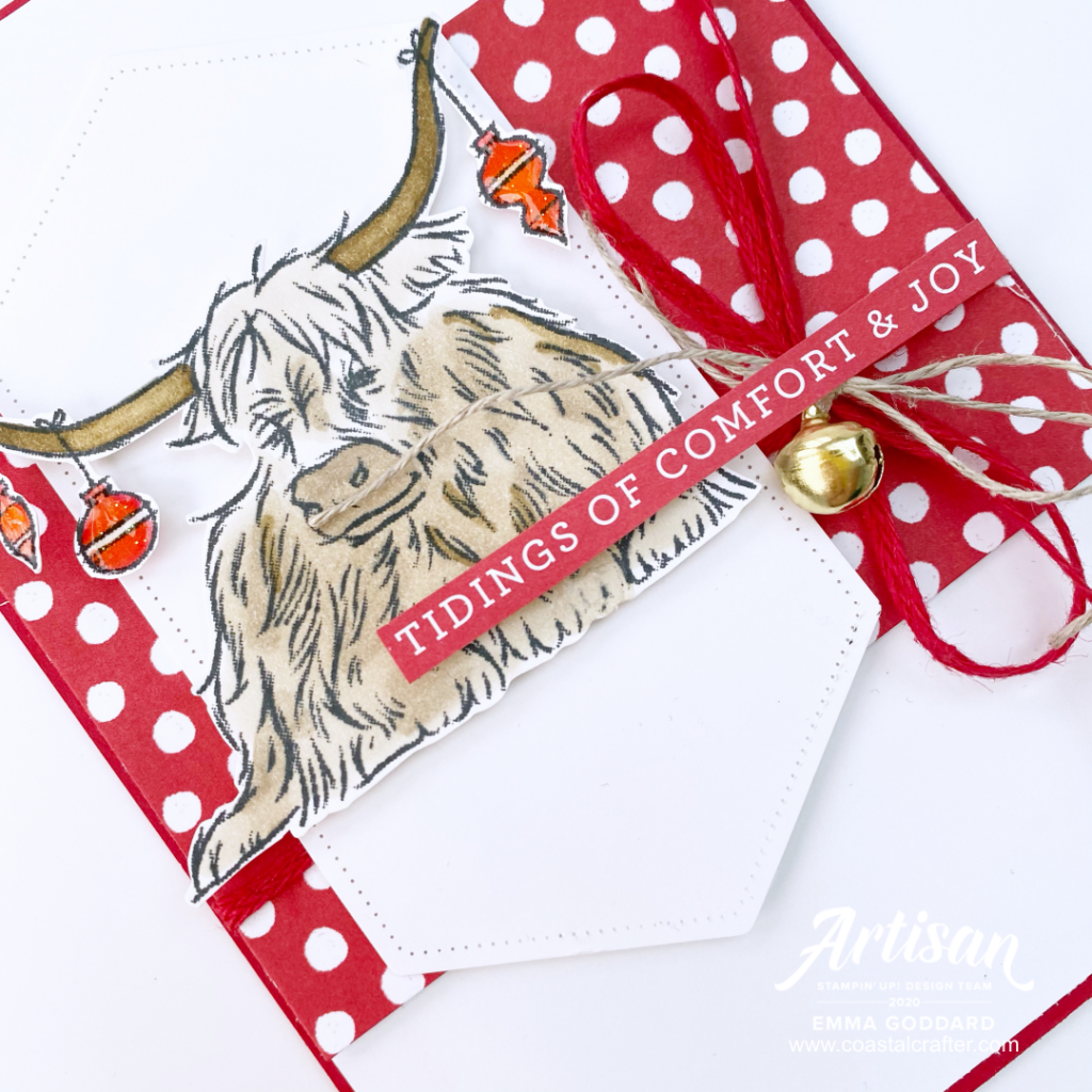 Mixing the fun Trimming the Town Designer paper with the cute Highland Cow from the Yuletide Pastures Stamp Set