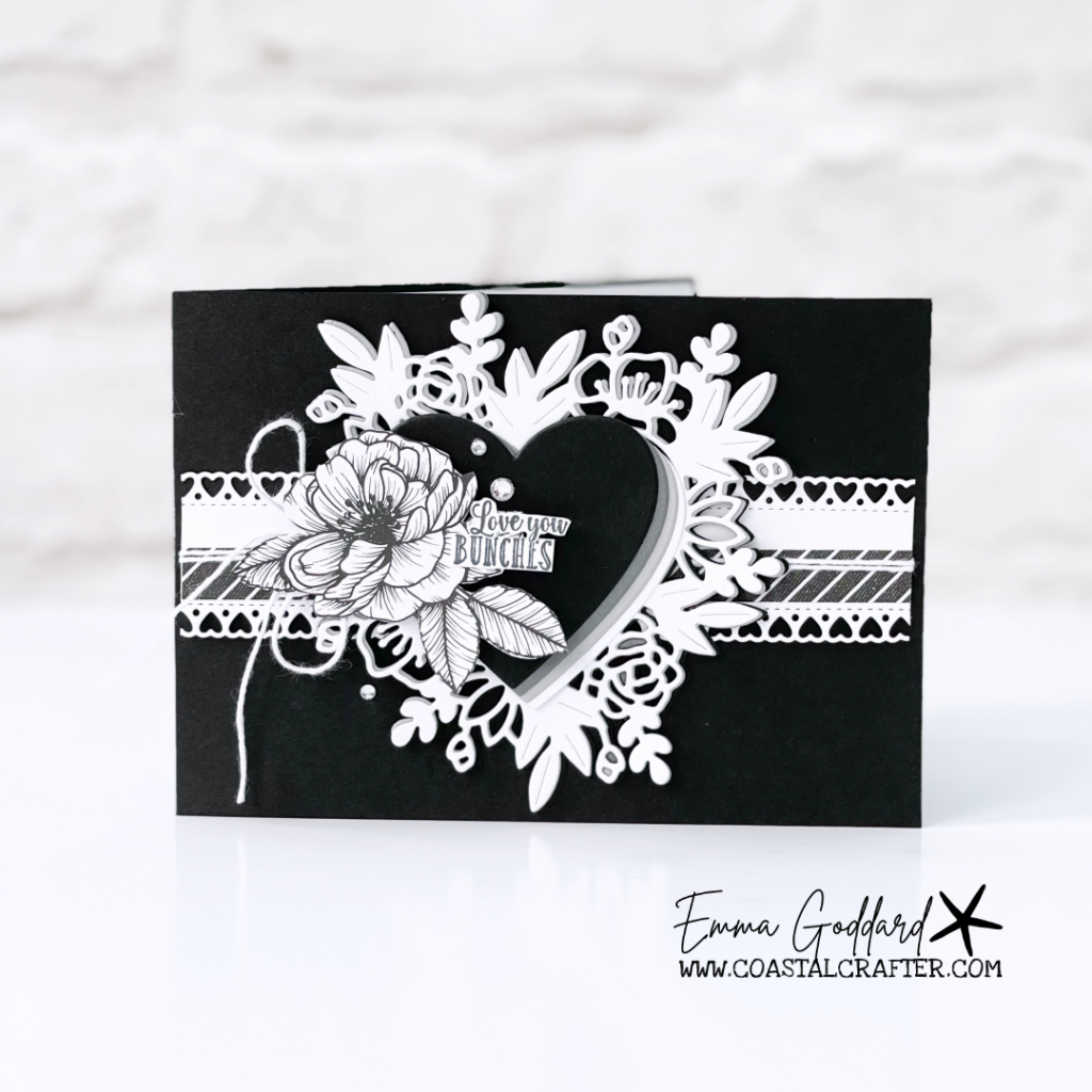 Black and white love themed card. Using the Floral Heart Dies with the larger sketched flower
