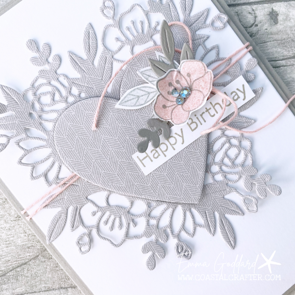Close up of the Grey Granite heart die cut with a pretty Blushing Bride flower, using the Always in my Heart Bundle
