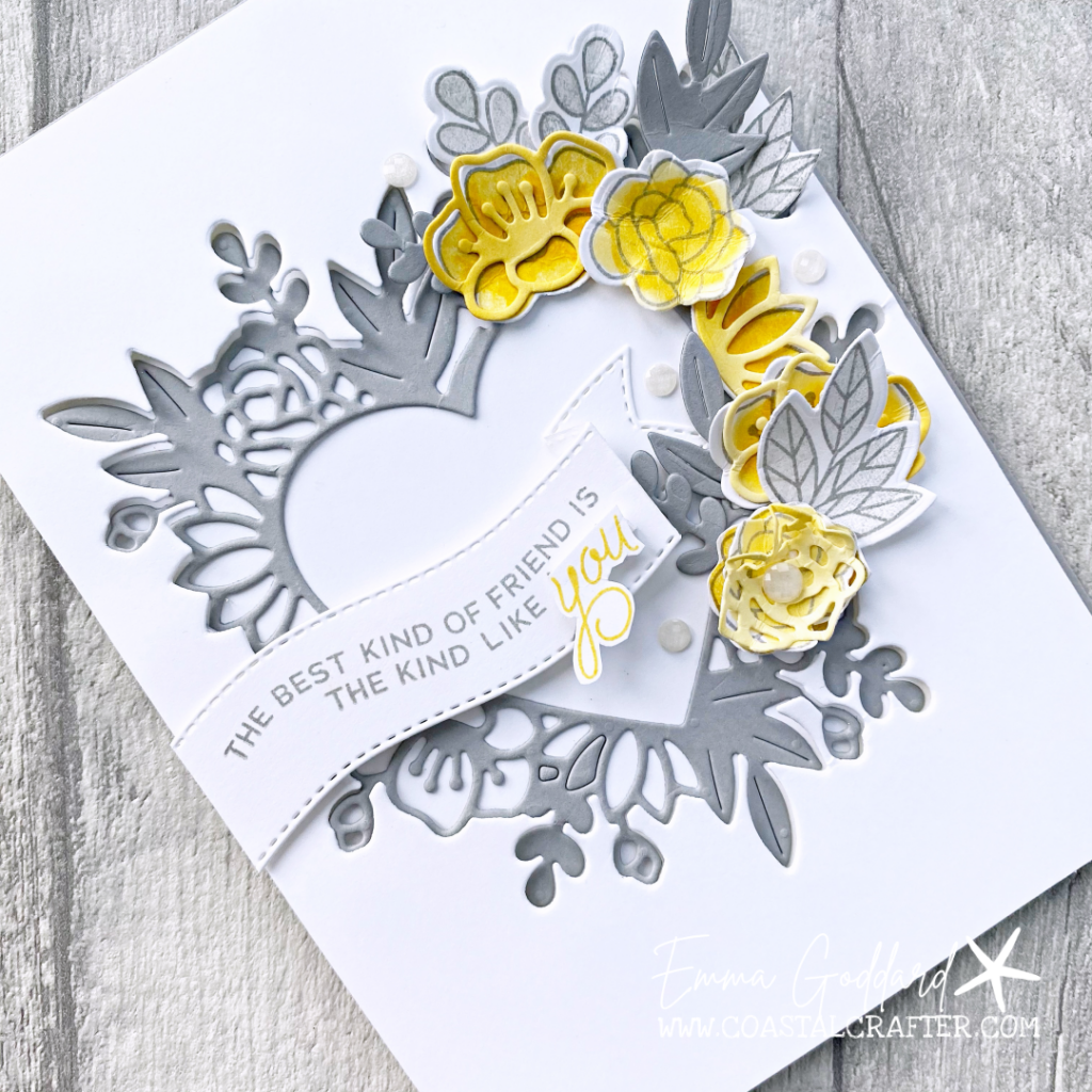 Grey heart with yellow flowers using the Always in my Heart Bundle