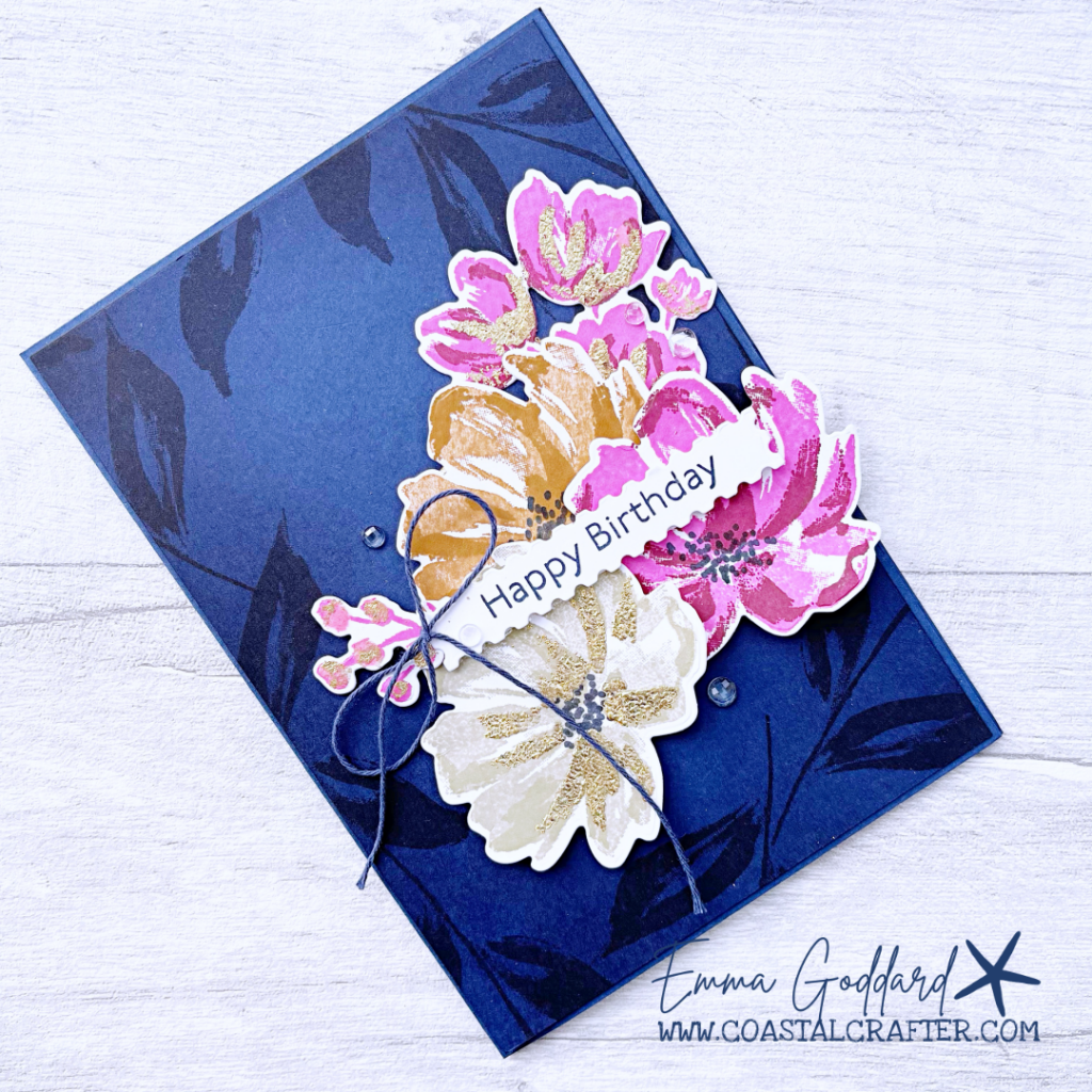 Floral Card with Night of Navy background, with a pop of Magenta Madness, Sahara Sand and Cinnamon Cider flowers