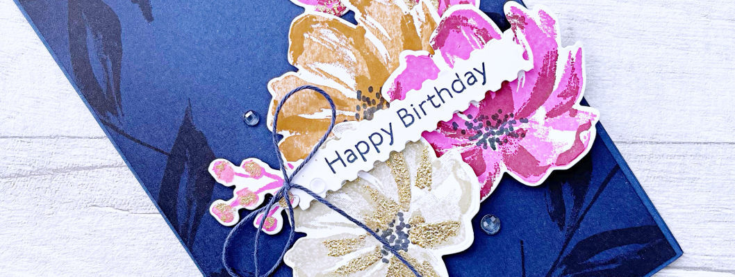 Floral Card with Night of Navy background, miseducating with a pop of Magenta Madness, Sahara Sand and Cinnamon Cider flowers
