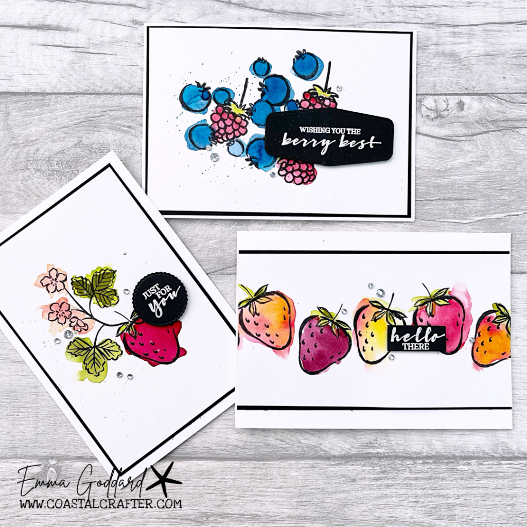 A trio of cards using the Sweet Strawberry and Berry Blessings Stamp Sets. All watercolored for a fun summer look.