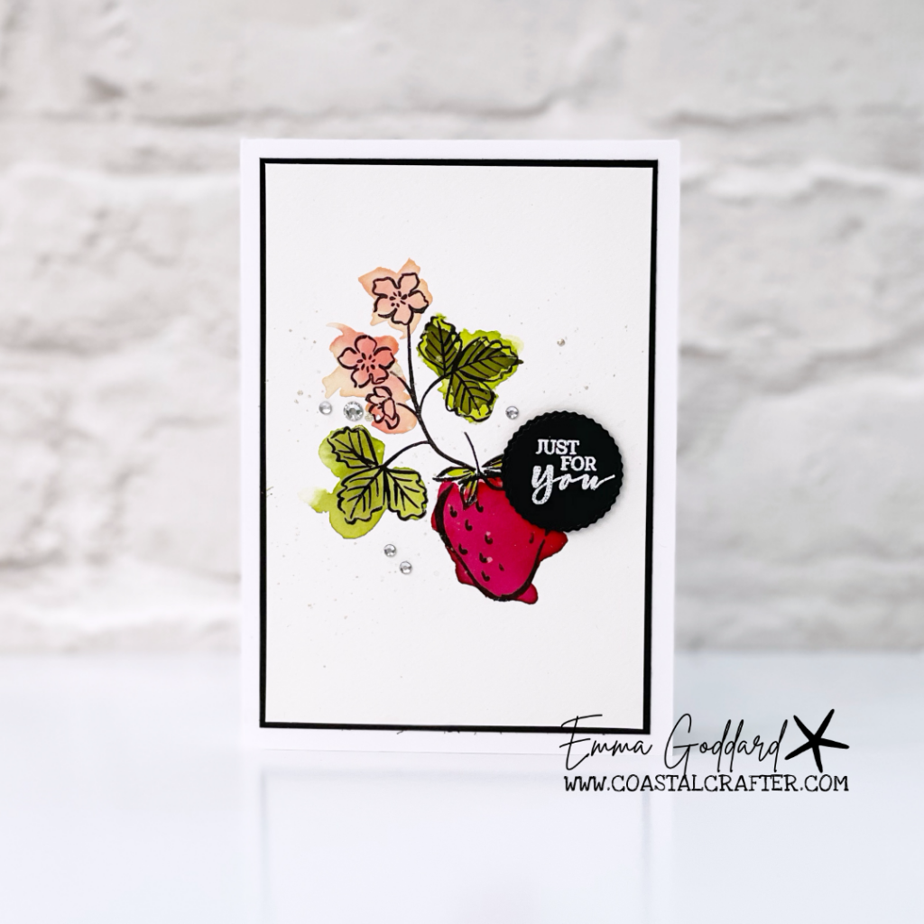Watercolored single sweet strawberry note card
