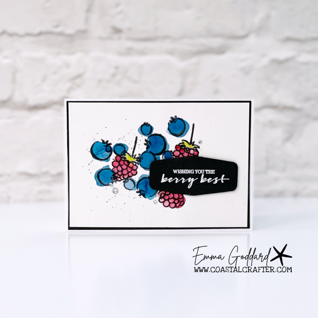 Watercolored blueberry and raspberry card