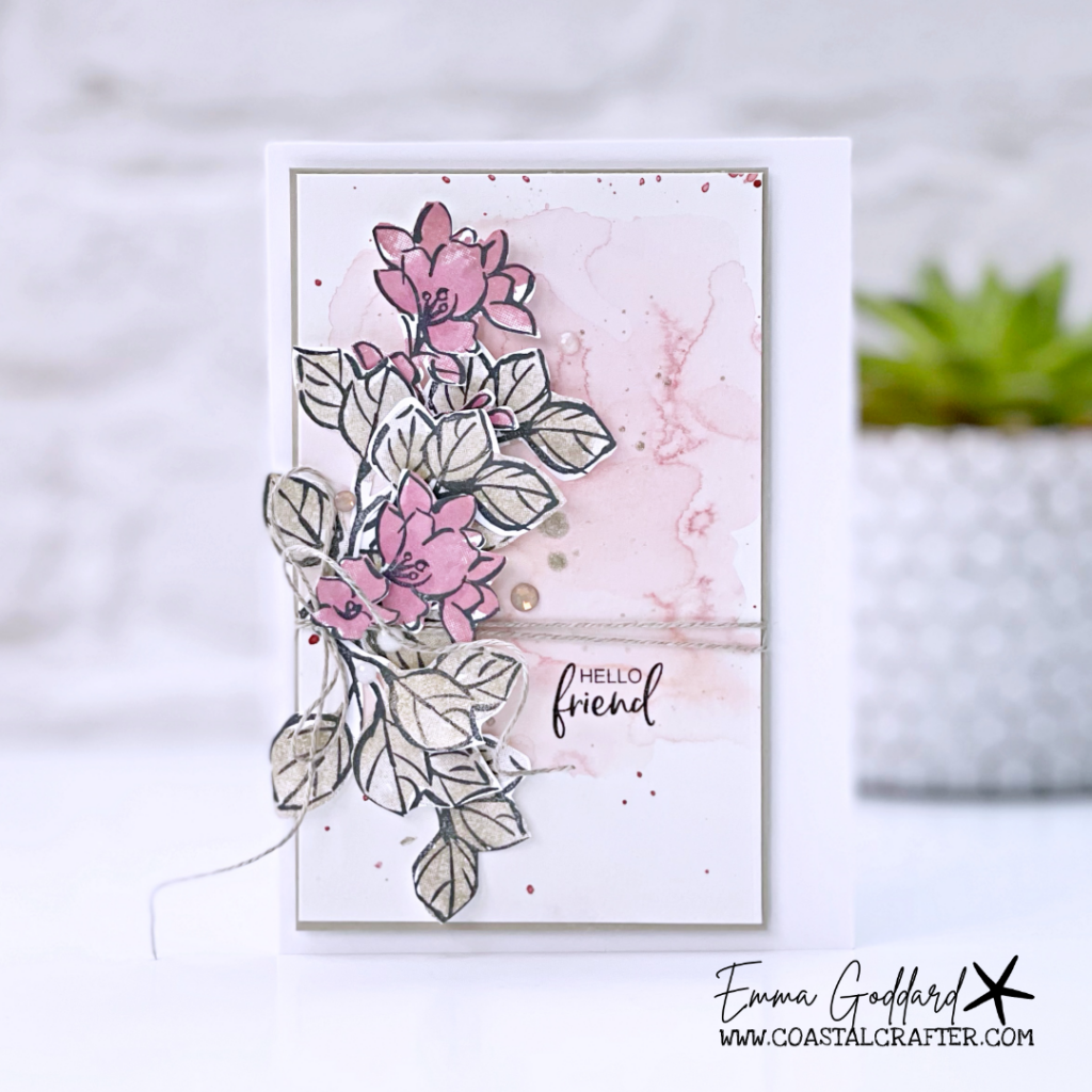 Soft pink and neutral flowers and leaf card