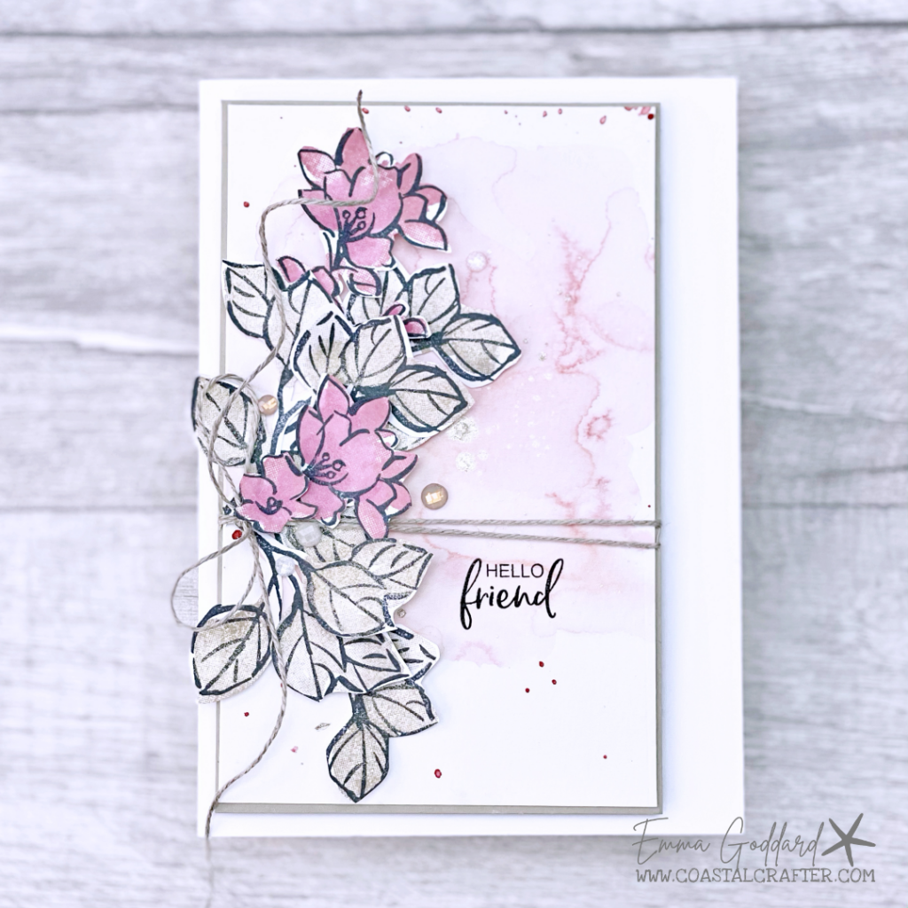 Soft pink floral and neutral leaf card