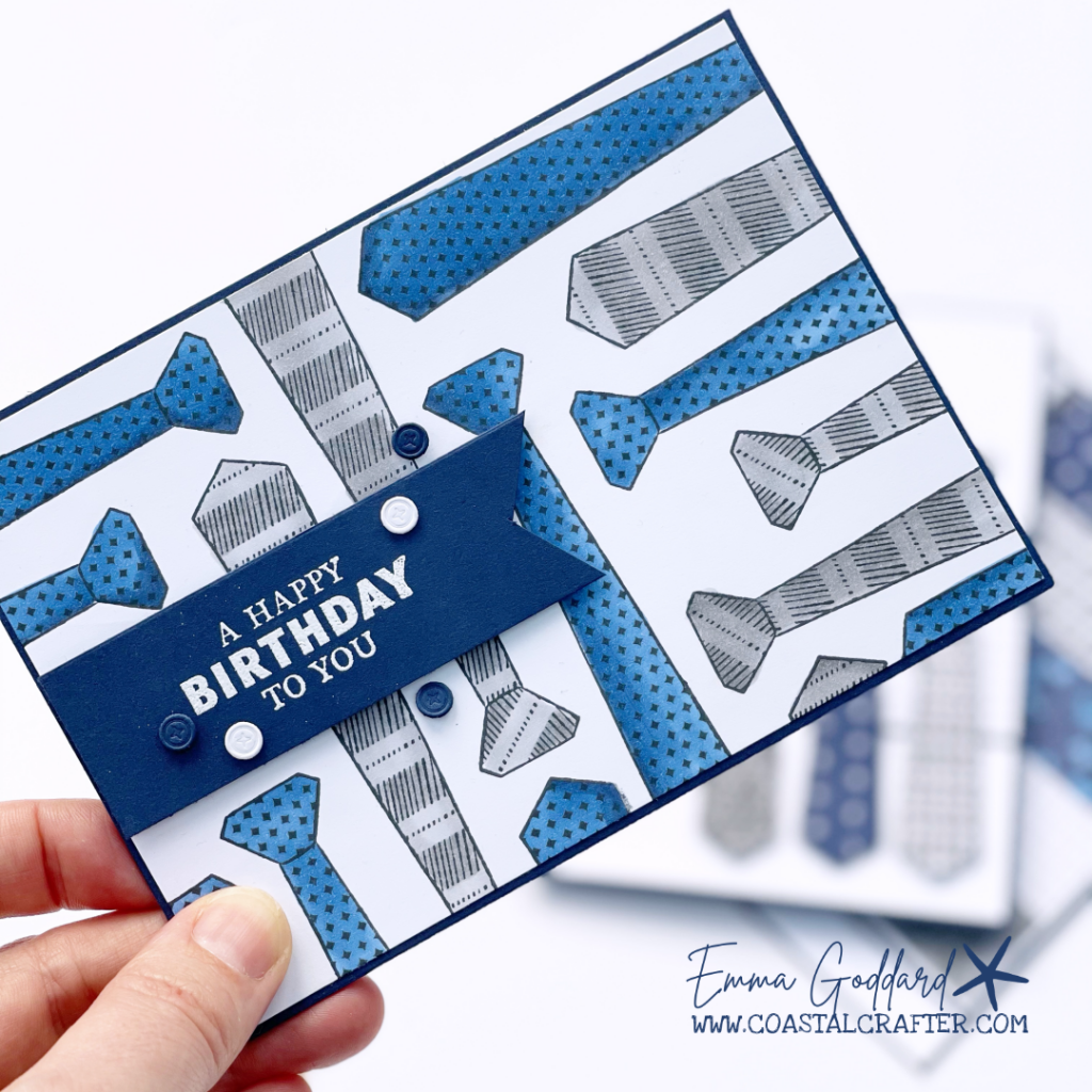 Randomly stamped ties to create a fun background. Perfect for a masculine birthday