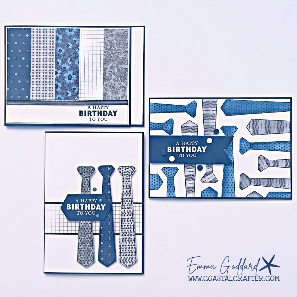 Navy and Gray cards stamped with Ties to create a trio of cards for the men in your life. All using the Well Suited Suite from Stampin' Up!