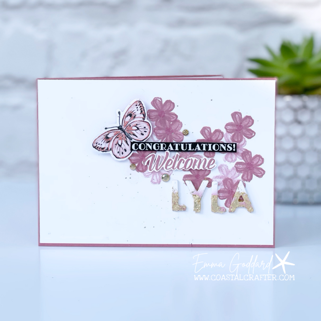 Congratulations and welcome Baby Girl Card using the soft pink Rococo Rose Ink
