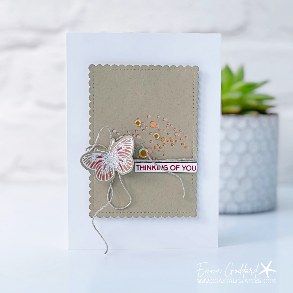 A simple Thinking of You card, with a focus Crumb Cake panel with added texture from the Brilliance Wings dies.