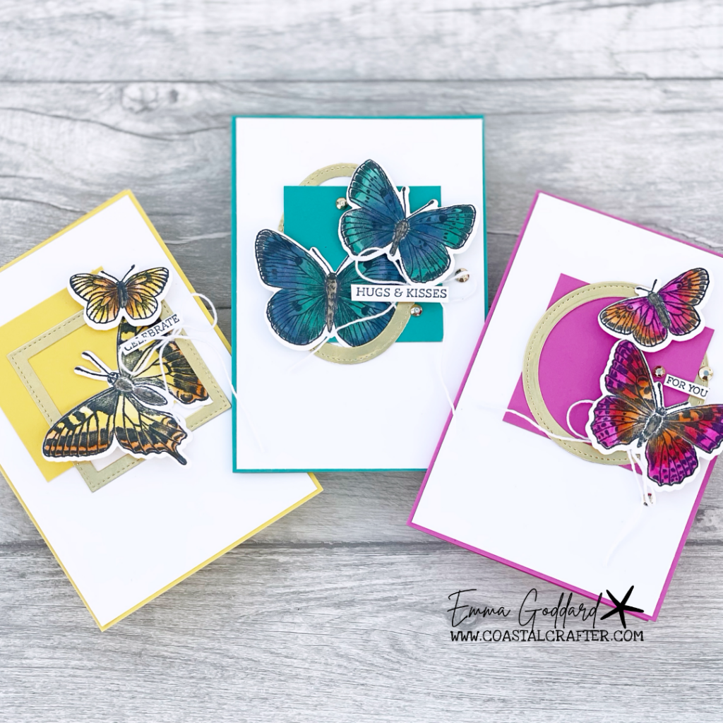 A trio of cards using bright and bold colours and the Butterfly Brilliance Bundle.