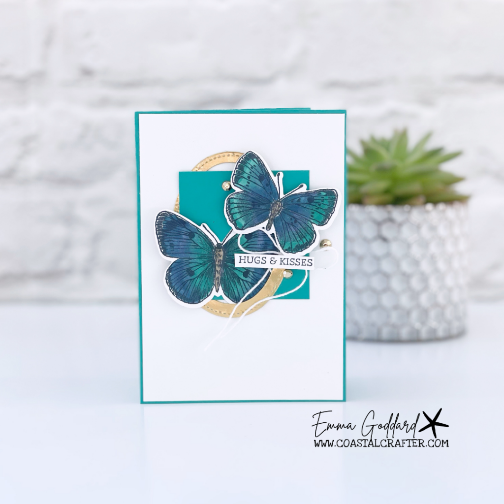 Bermuda Bay card with a gold oval frame and two butterflies from the Butterfly Brilliance Bundle.