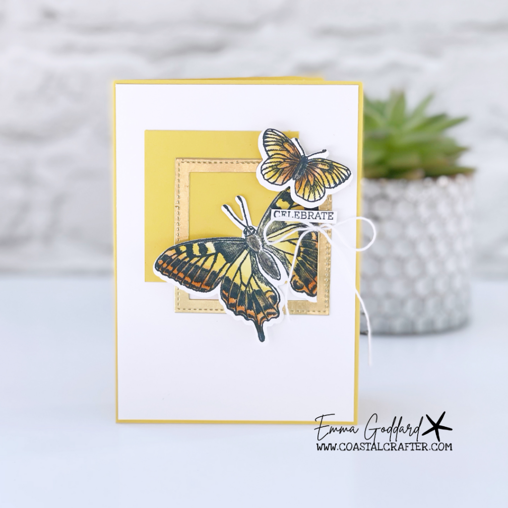Daffodil Delight card with a gold square frame and two butterflies from the Butterfly Brilliance Bundle.