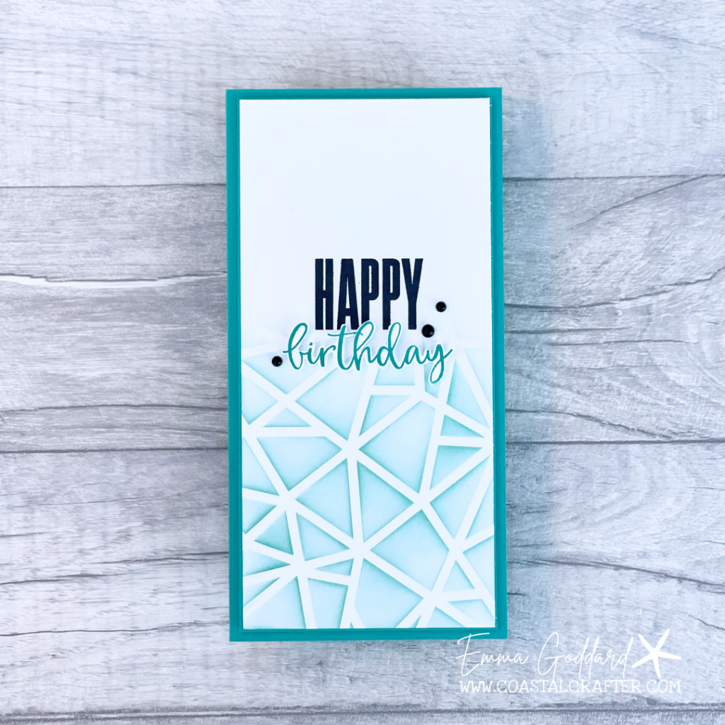 Masculine Makes don't have to be difficult. This tall and slim card was created using the Stampin' Up! Plenty of Pattern Decorative masks for a blended background using Pool Party Ink
