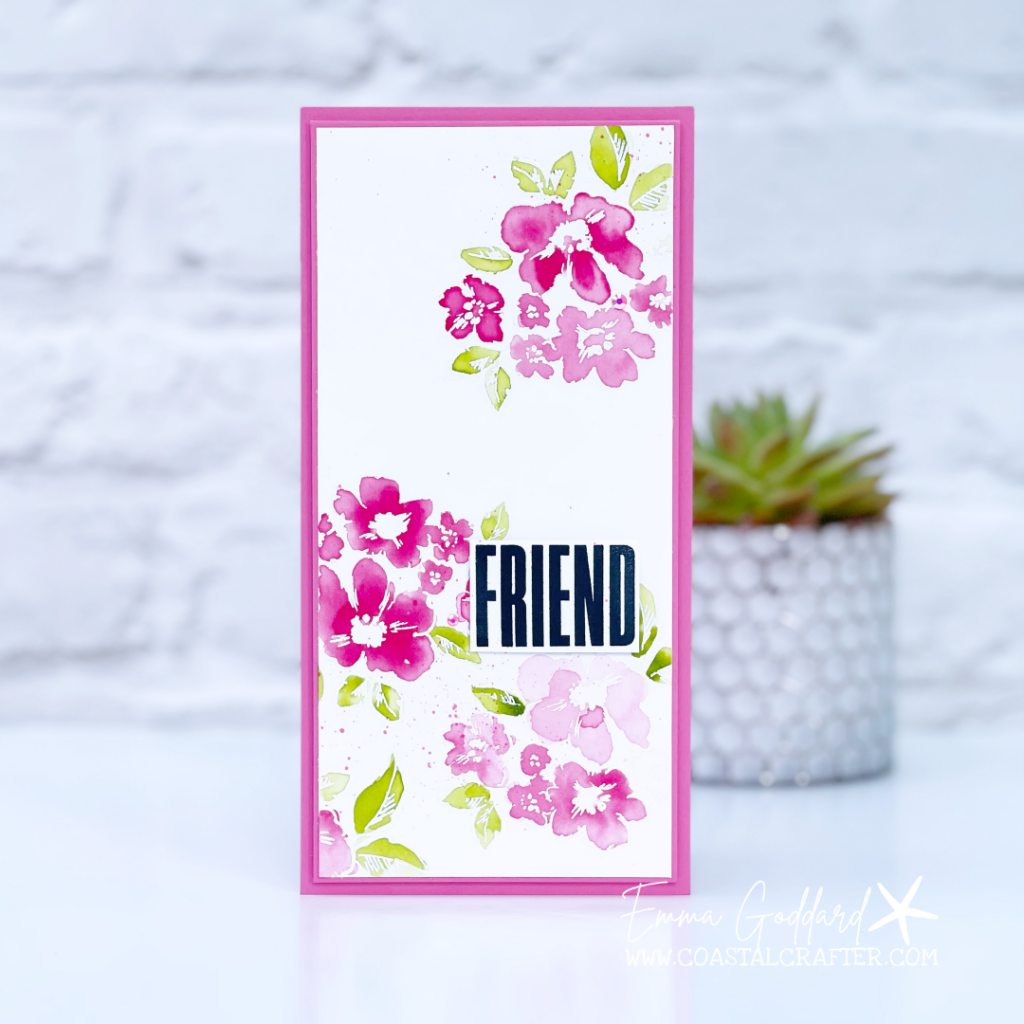 Watercoloured Polished Pink Flowers using the Hand Penned Stamp Set