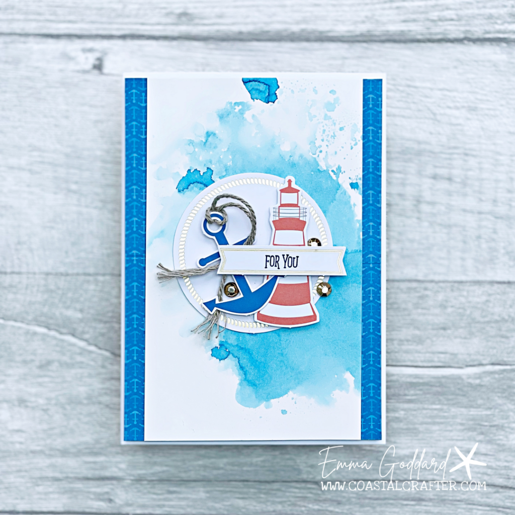 Greeting card using You are my Anchor Card Kit and adding a fun watercolour background in Pacific Point Ink
