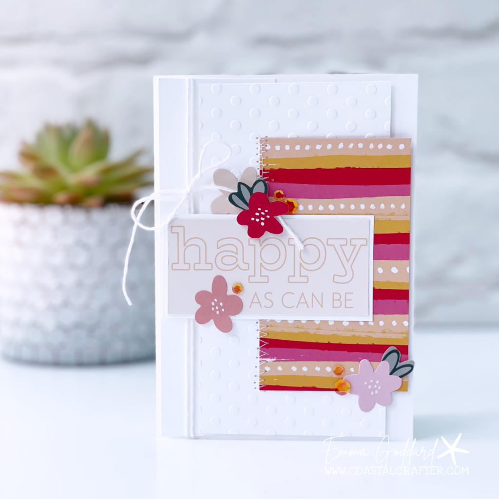 Bright and bold card using the What a Year Memories and More cards with Happy as can be sentiment