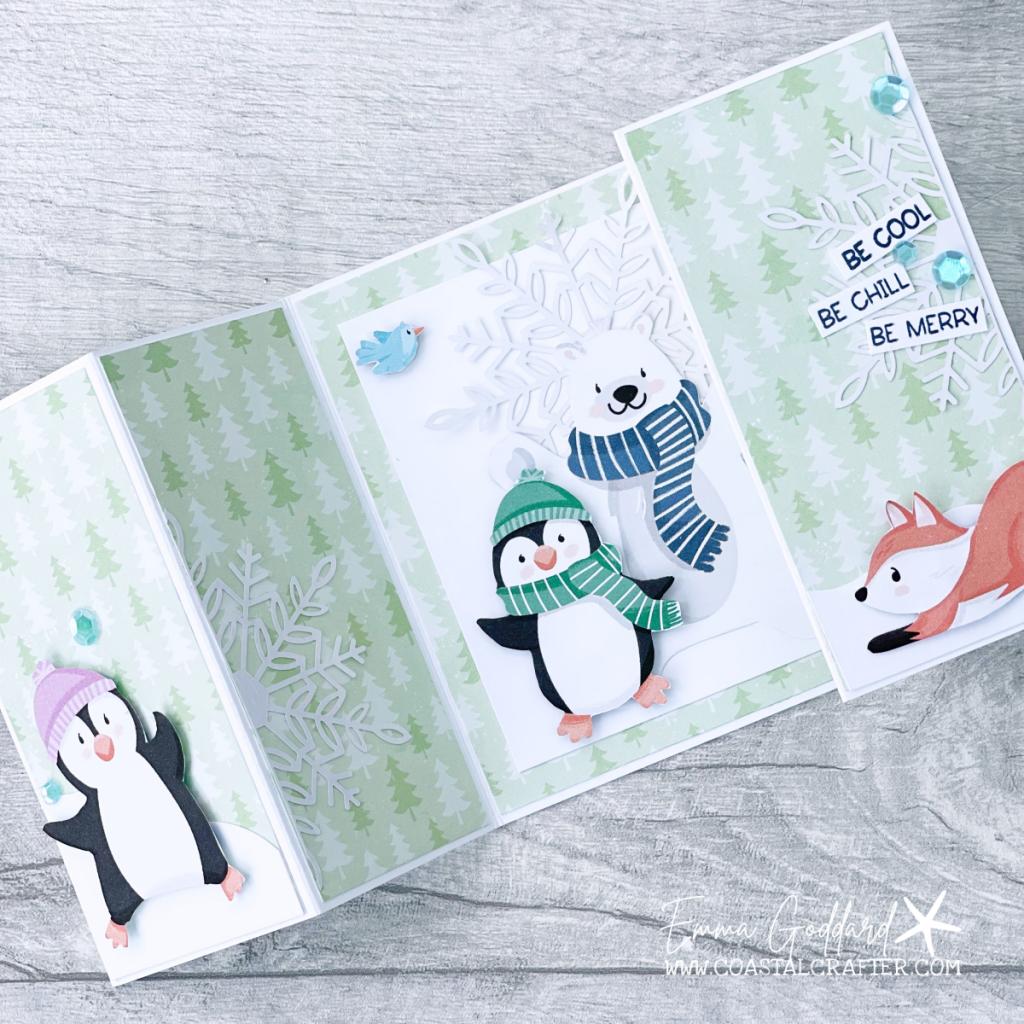Fancy Fold Card using the fun Penguin Playmates Designer Paper