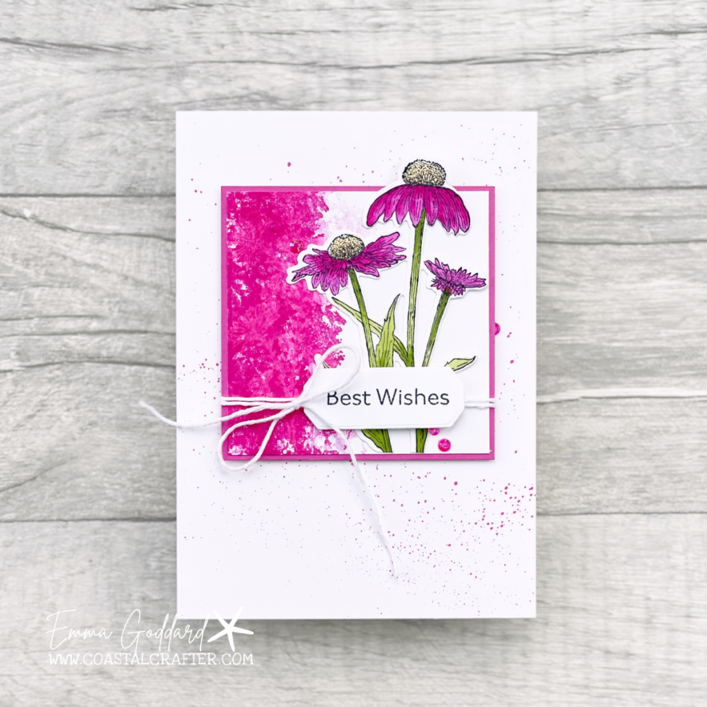 Bright Pink Best Wishes Greeting Card using the Nature's Harvest Stamp Set from Stampin' Up!