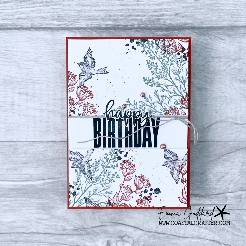 Hand stamped Birthday card using the Beauty of Tomorrow Stamp Set.