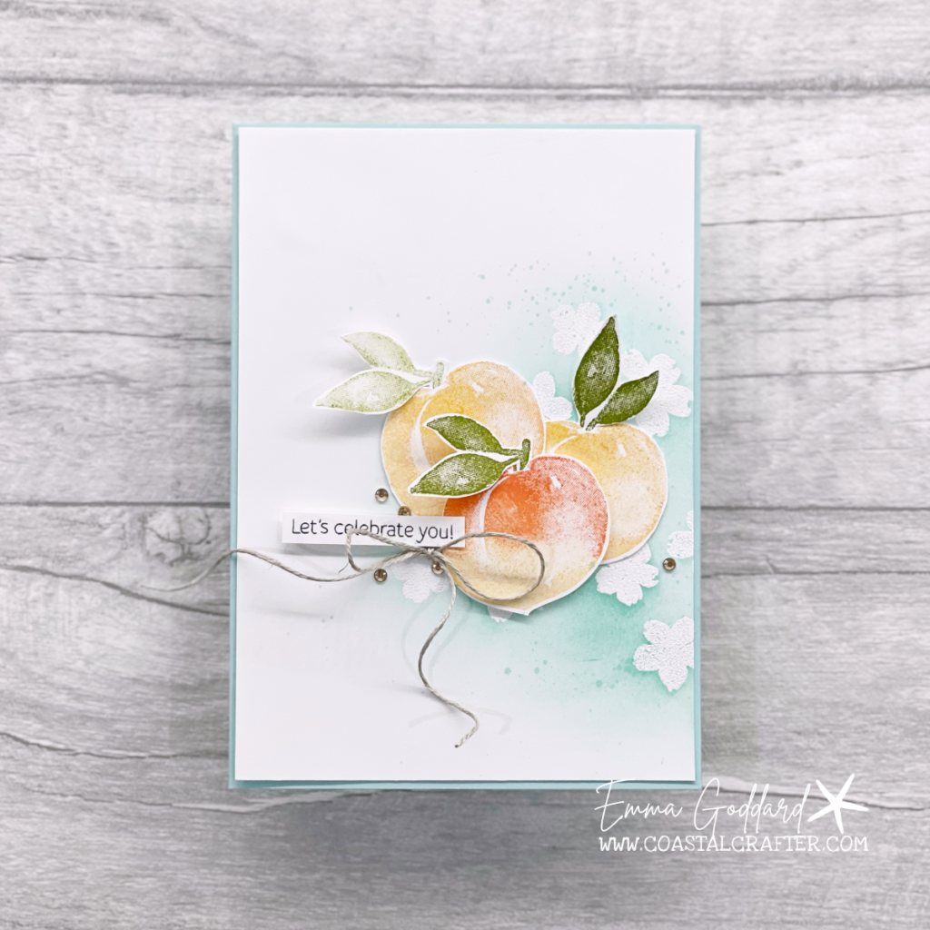 Celebration card using the Sweet as a Peach Stamp Set for a fresh and fun card