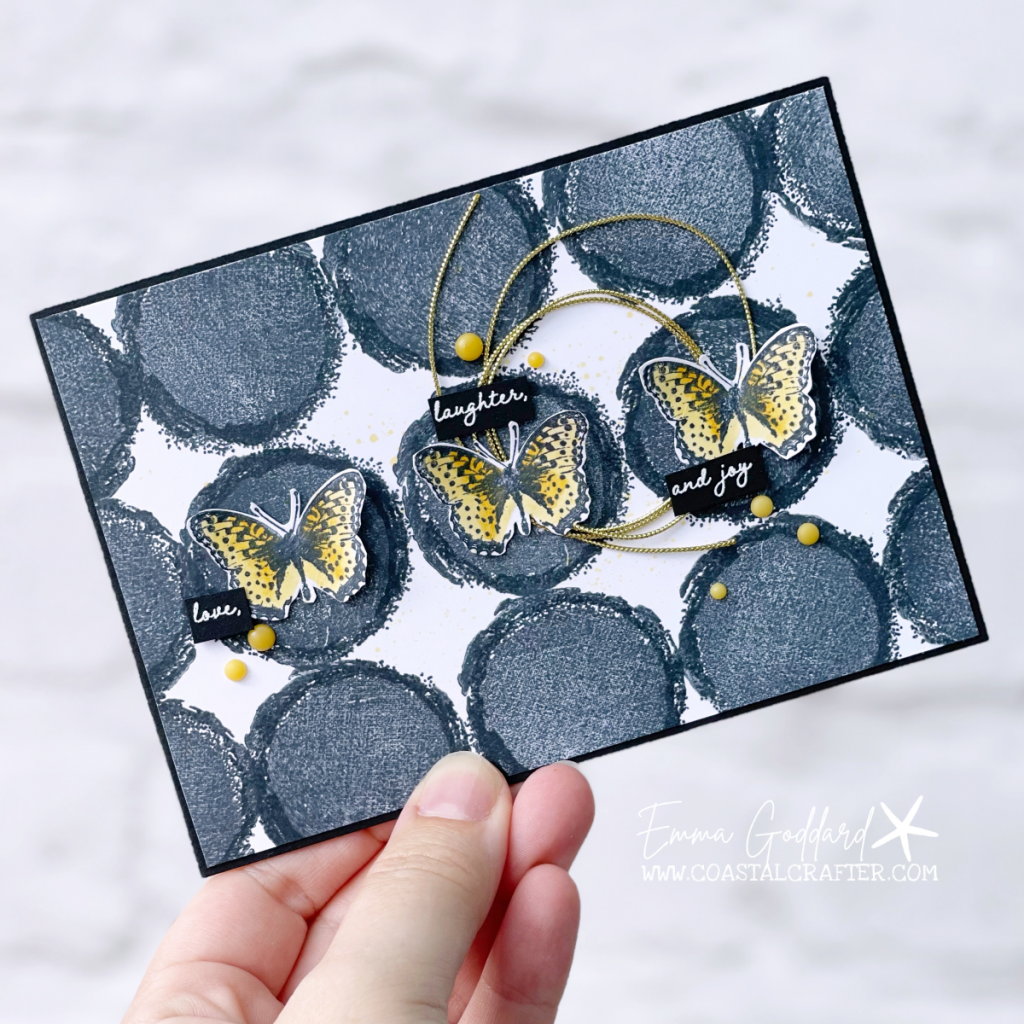 Fun and graphic card using circles from the Stampin' Up! Textures and Frames Stamp Set